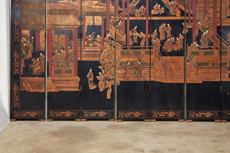 Chinese Export Twelve-Panel Lacquered Coromandel Screen For Sale 2