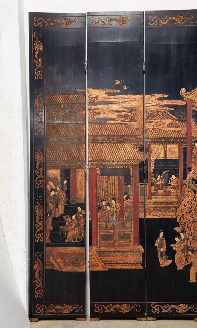 Chinese Export Twelve-Panel Lacquered Coromandel Screen For Sale 3