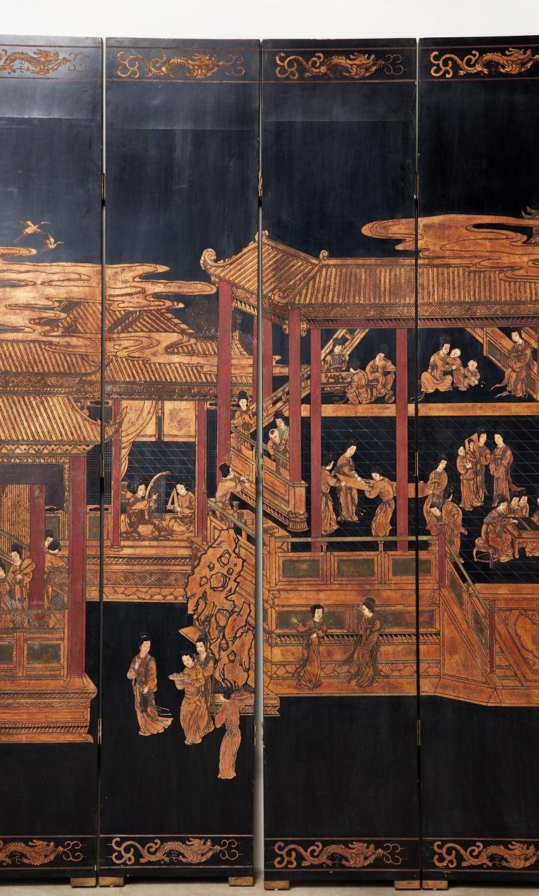 Chinese Export Twelve-Panel Lacquered Coromandel Screen For Sale 4