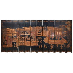 Chinese Export Twelve-Panel Lacquered Coromandel Screen