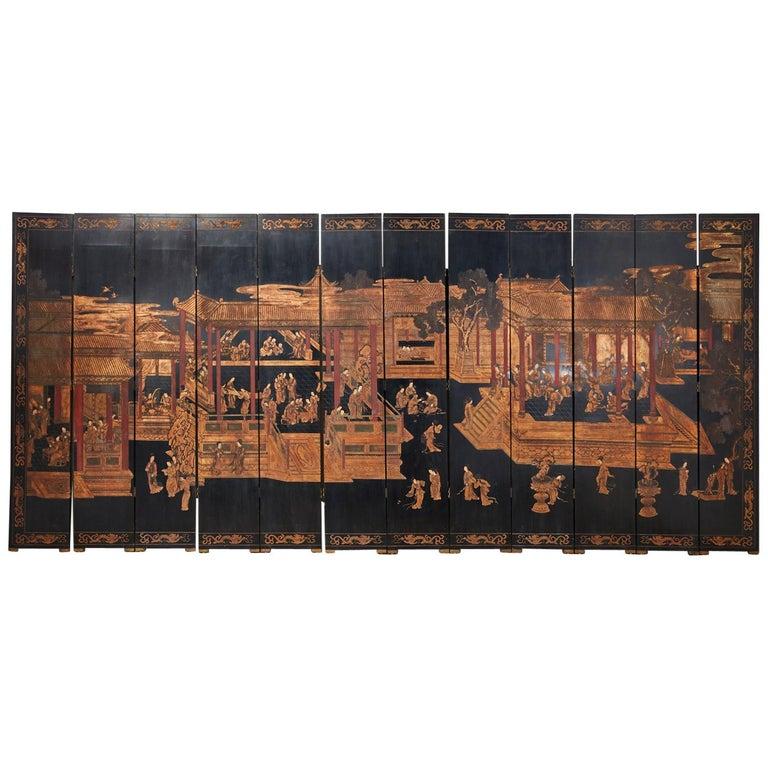 Chinese Export Twelve-Panel Lacquered Coromandel Screen For Sale
