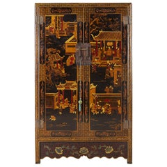 Chinese Export Two-Door Lacquered Wedding Style Cabinet