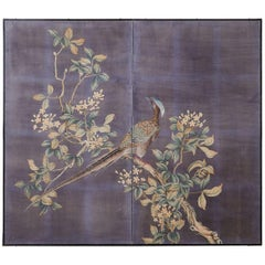 Chinese Export Two-Panel Hand Painted Wallpaper Screen