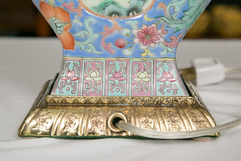 19th Century Chinese Export Vase as Table Lamp For Sale