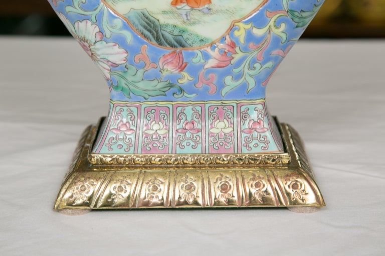 Metal Chinese Export Vase as Table Lamp For Sale