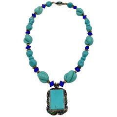 Chinese Export Vermeil Silver, Turquoise & Glass Necklace
