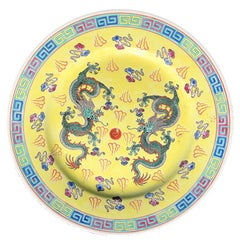 Chinese Export Yellow Famille Rose Ceramic Plate with Dragons and Flaming Pearl