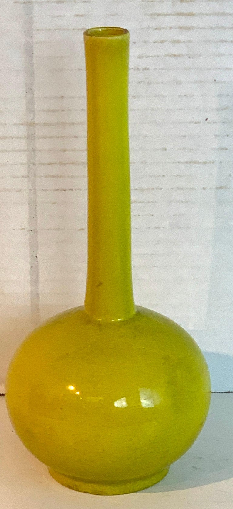 Chinese export yellow monochrome bottle vase, circa 1900