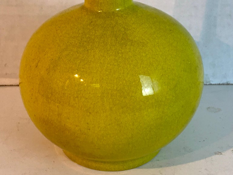 20th Century Chinese Export Yellow Monochrome Bottle Vase, circa 1900 For Sale