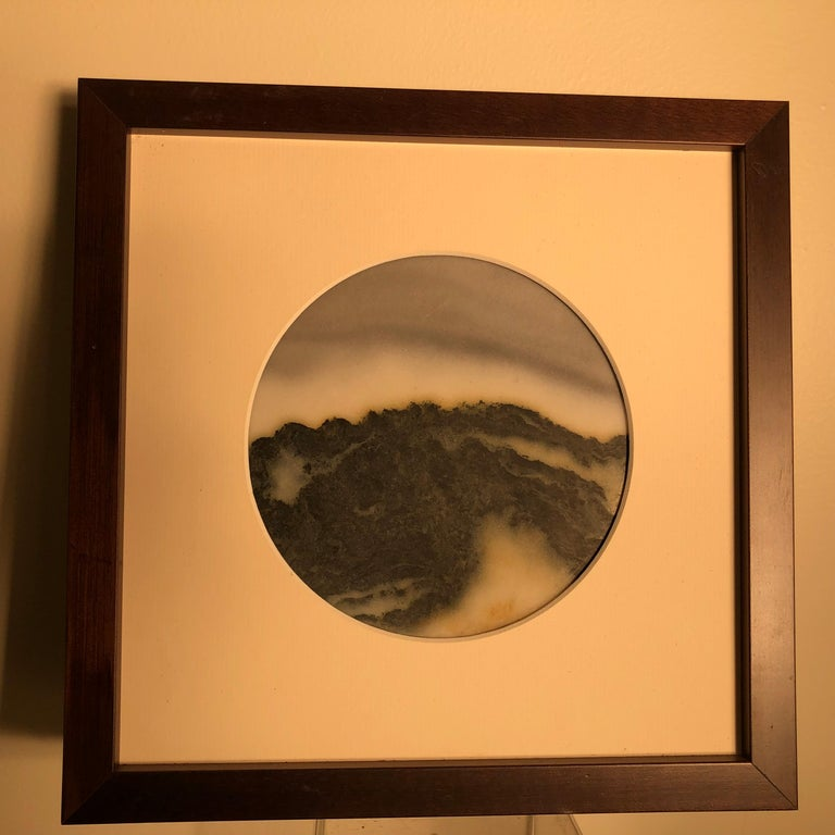 Chinese Extraordinary Mountain Top Painting, One of a Kind Natural Stone For Sale 3