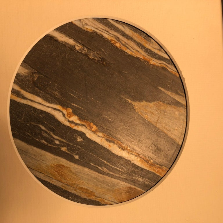 Hand-Carved Chinese Extraordinary Tilted Planet Earth Painting, Natural Stone For Sale
