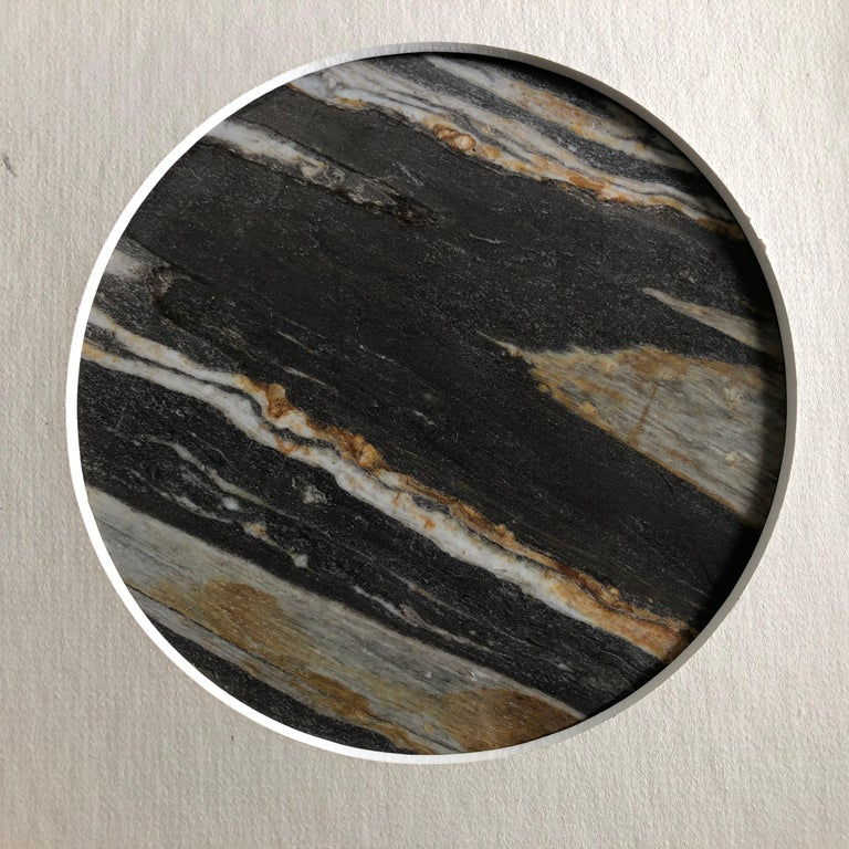 Marble Chinese Extraordinary Tilted Planet Earth Painting, Natural Stone For Sale