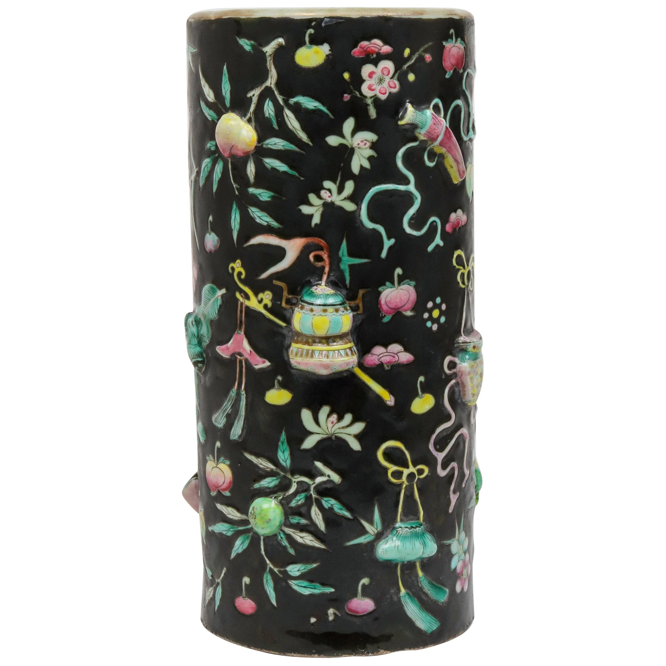 Chinese Famille Noire Porcelain Hat Stand Vase