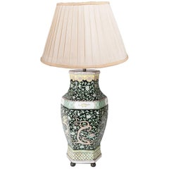 Chinese Famille Noire Vase or Lamp