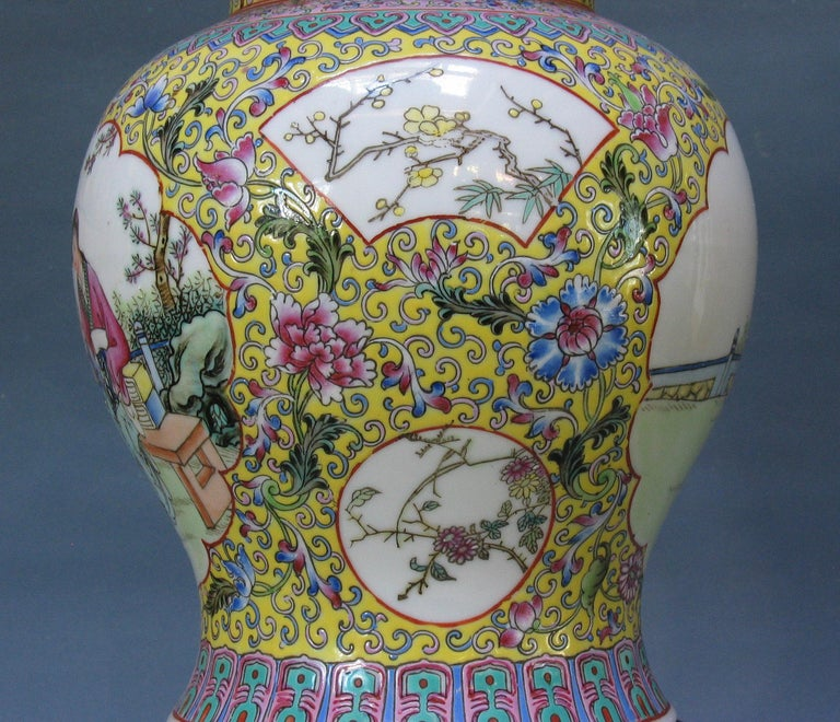 Chinese Famille Rose Baluster Jar and Cover on Stand For Sale 3