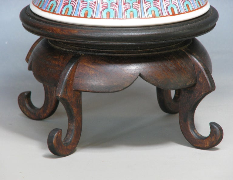 Chinese Famille Rose Baluster Jar and Cover on Stand For Sale 4