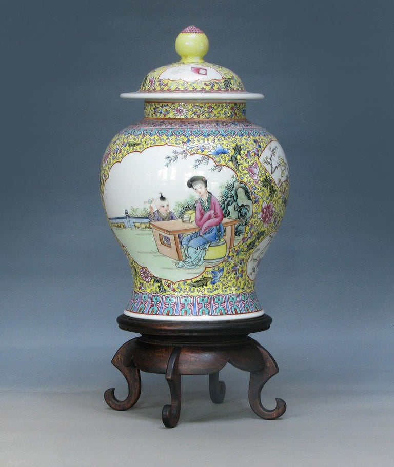 Chinese Export Chinese Famille Rose Baluster Jar and Cover on Stand For Sale