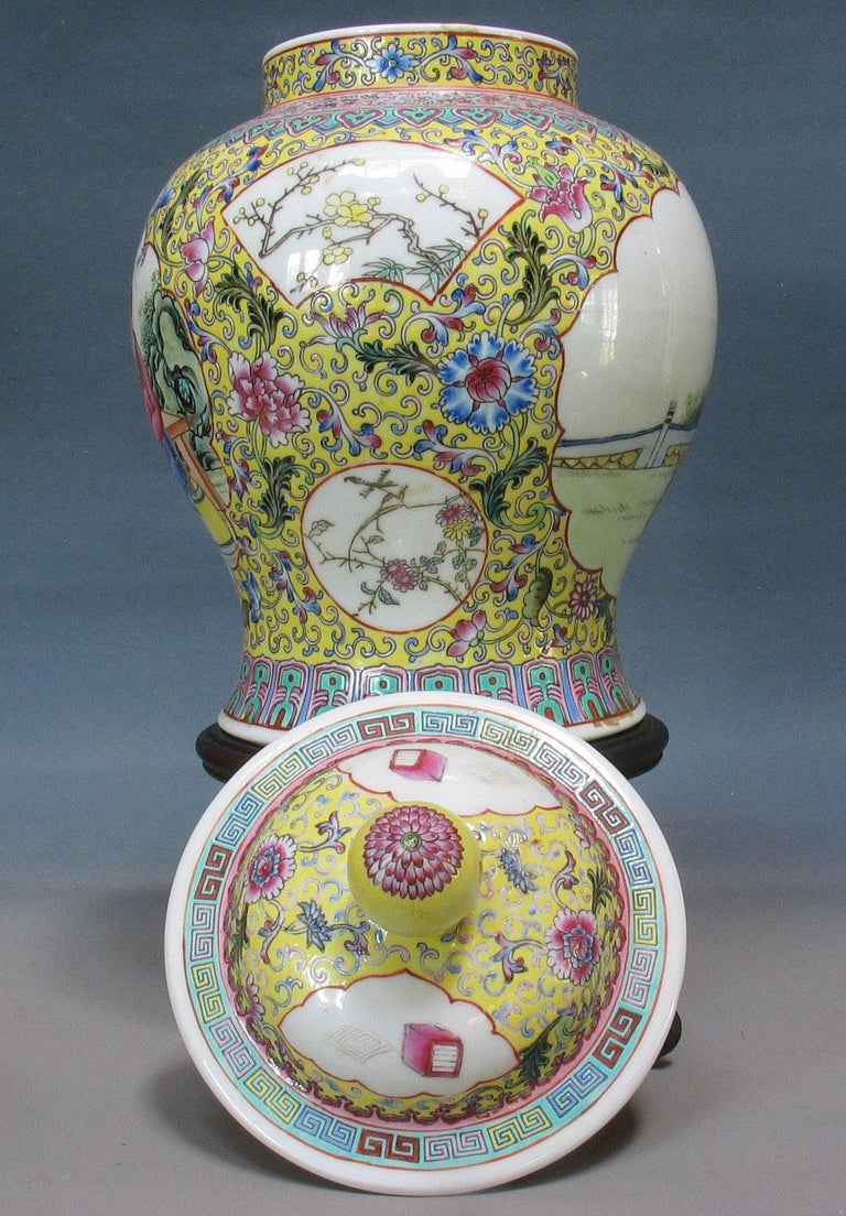 Hand-Crafted Chinese Famille Rose Baluster Jar and Cover on Stand For Sale