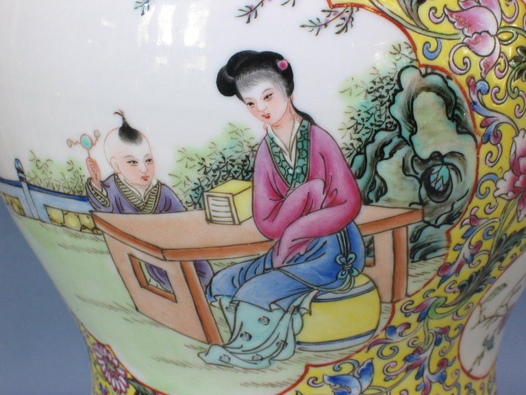 20th Century Chinese Famille Rose Baluster Jar and Cover on Stand For Sale