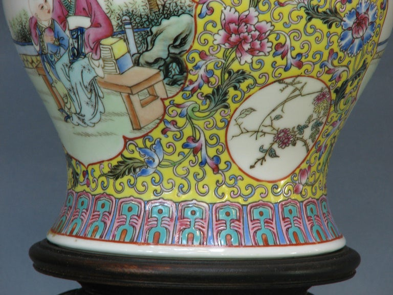 Chinese Famille Rose Baluster Jar and Cover on Stand For Sale 1