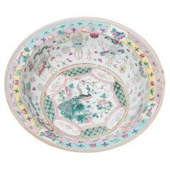 Chinese Famille Rose Bowl with Scholars' Objects, c. 1850