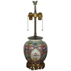 Chinese Famille Rose Bronze and Porcelain Ginger Jar Table Lamp Chinoiserie