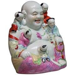 Chinese Famille Rose Buddha Budai & Boys Group
