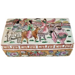 Chinese Famille Rose Lidded Porcelain Trinket Box