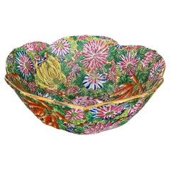 Chinese Famille Rose Millefleurs Porcelain Lotus Shape Bowl