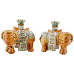 Chinese Famille Rose Pair of Elephant Form Joss or Candlesticks