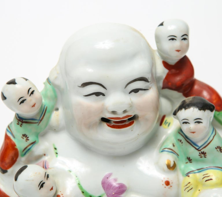 Chinese Export Chinese Famille Rose Porcelain Hotei Laughing Buddha For Sale
