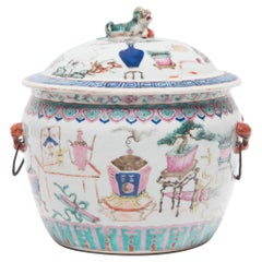 Chinese Famille Rose Soup Tureen with Scholars' Objects, c. 1900