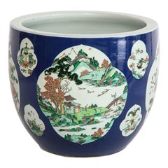 Chinese Famille Vert Blue-Ground Planter with Multiple Landscape Cartooges