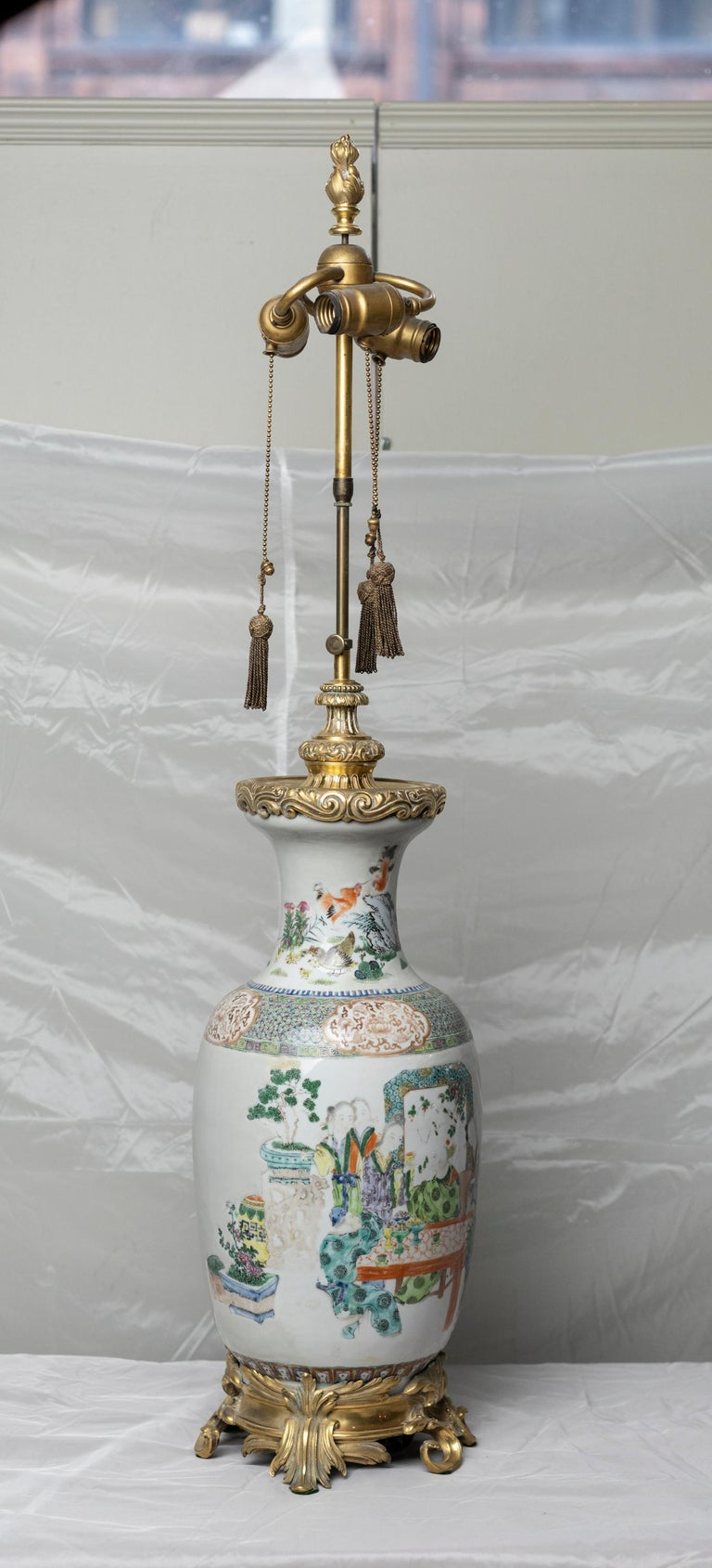 Chinese Famille Verte Table Lamp For Sale 5