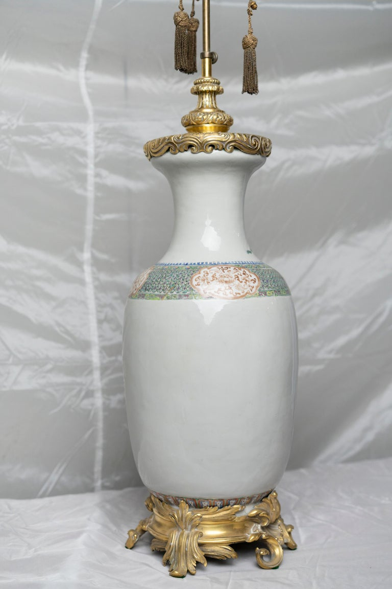 Chinese Famille Verte Table Lamp For Sale 7