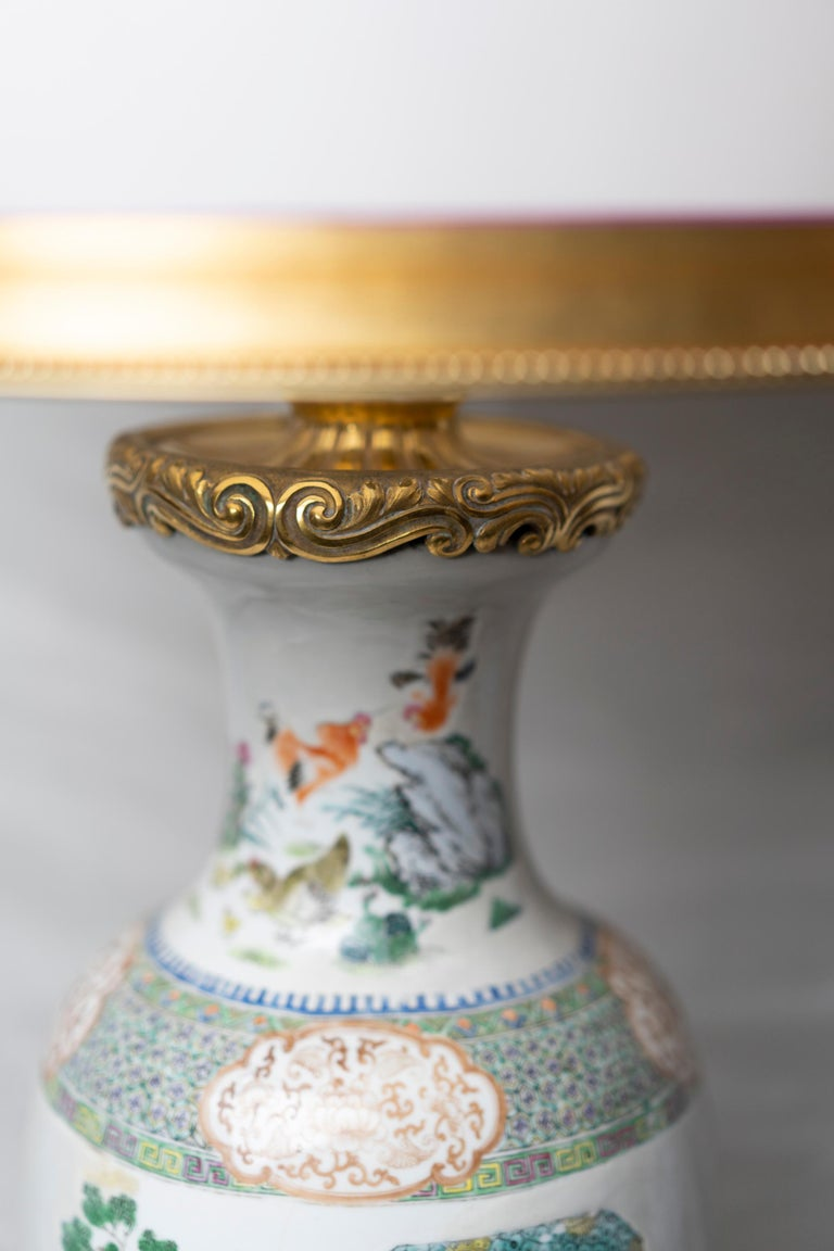 Chinese Famille Verte Table Lamp In Good Condition For Sale In Montreal, QC
