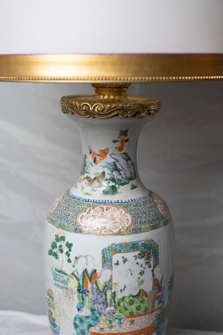Early 19th Century Chinese Famille Verte Table Lamp For Sale