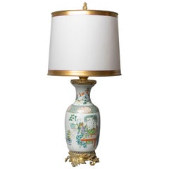 Chinese Famille Verte Table Lamp