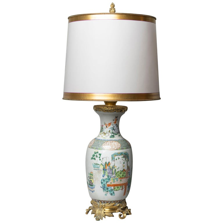 Chinese Famille Verte Table Lamp For Sale