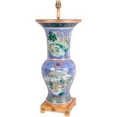 Chinese Famille Verte Vase or Lamp, 19th Century