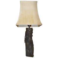 Chinese Faux Bois Bronze Table Lamp