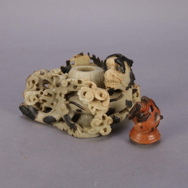Hand-Carved Chinese Figural Carved Soapstone Sculptural Inkwell, Sea Dragon & Koi circa 1900 For Sale
