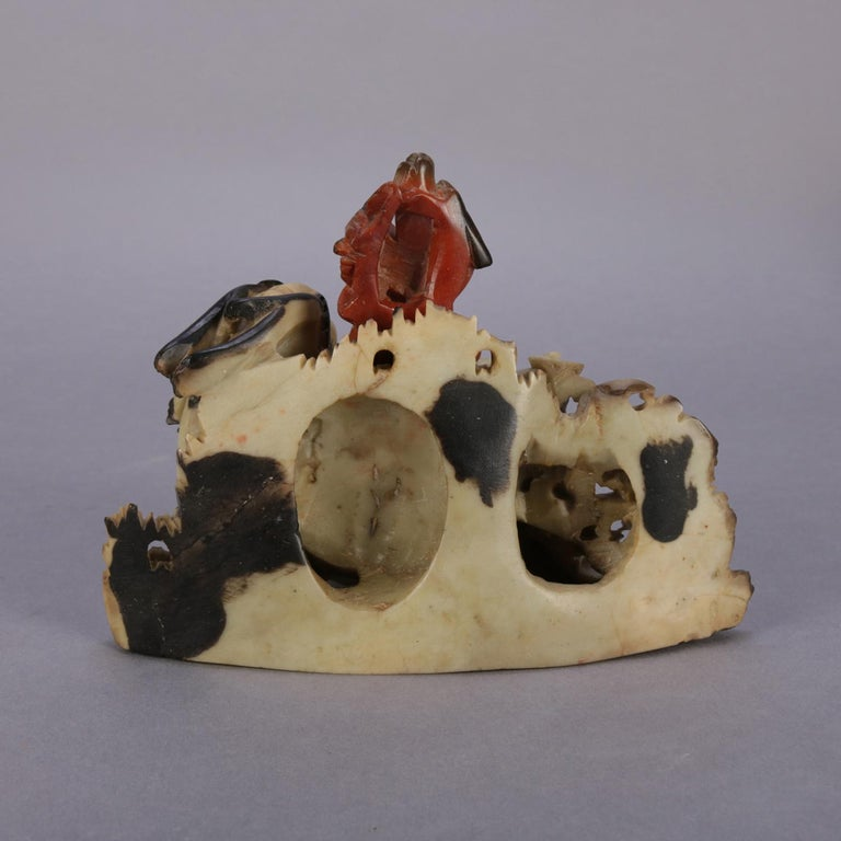 20th Century Chinese Figural Carved Soapstone Sculptural Inkwell, Sea Dragon & Koi circa 1900 For Sale