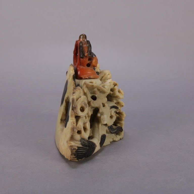 Chinese Figural Carved Soapstone Sculptural Inkwell, Sea Dragon & Koi circa 1900 For Sale 1