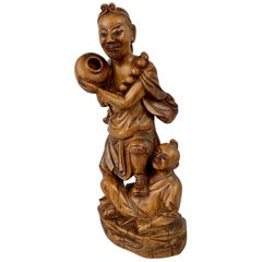 Chinese Hand Carved Teak Male Figure with Boy