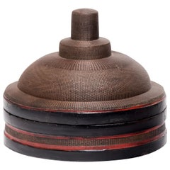 Chinese Finely Woven Winter Hat Box, circa 1850