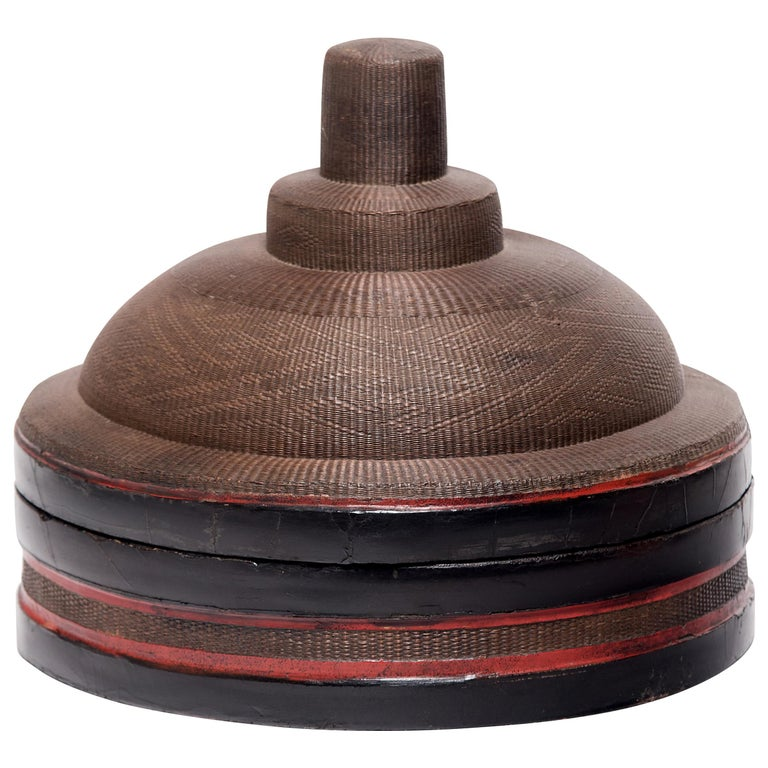 Chinese Finely Woven Winter Hat Box, circa 1850 For Sale