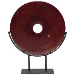 Chinese Fire Jade Bi Disc