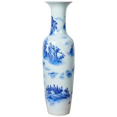 Chinese Floor Vase, Traditional Blue and White Patterning