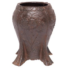 Chinese Floral Cast Iron Mortar